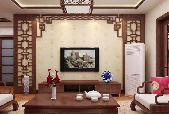 47款简单中式客厅电视背景墙效果图大全
